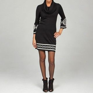 Madison Leigh Womens Black/ White Full Fashion Sweater Dress