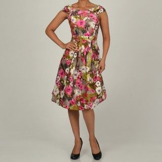 Robbie Bee Womens Pink/Grey Floral Printed Shantung Party Dress