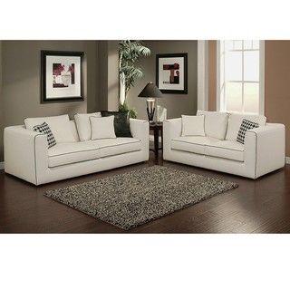 Abbyson Living Soho Italian Linen Sofa and Loveseat Set