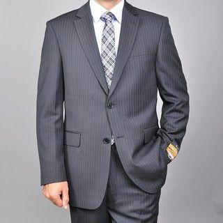 Bertolini Mens Black Wool/ Silk Pinstripe Suit