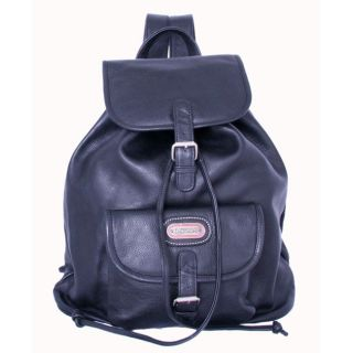 Leatherbay Black Leather Single pocket Backpack Today $164.21
