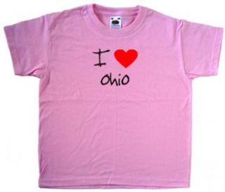 I Love Heart Ohio Pink Kids T Shirt Clothing