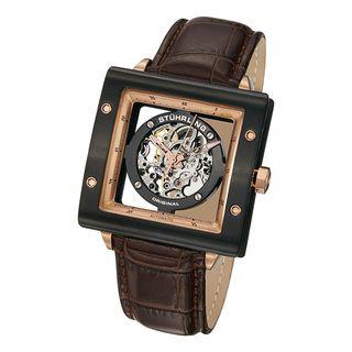 Stuhrling Original Mens Automatic Zeppelin Square Leather Strap Watch