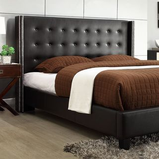 ETHAN HOME Francesca Black Bonded Leather Wingback Bed