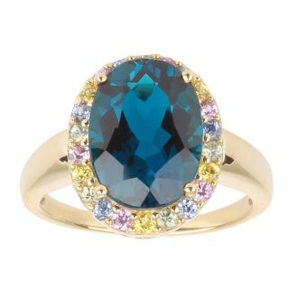 10k Yellow Gold London Blue Topaz and Multicolor Sapphire Ring