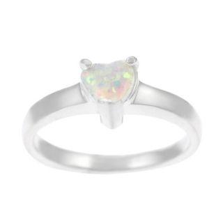 Tressa Sterling Silver Heart cut White Opal Ring