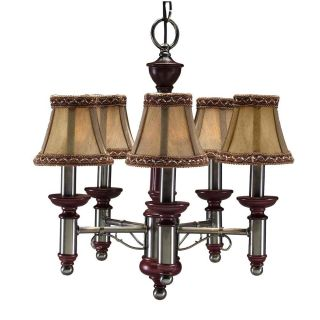 Burgundy/ Antique Nickel 5 light Chandelier
