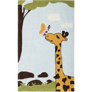 Handmade Childrens Giraffe and Butterfly New Zealand Wool Rug