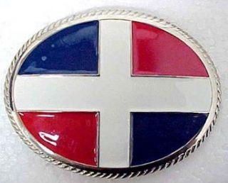 Dominican Republic Flag Chrome & Enamel Belt Buckle