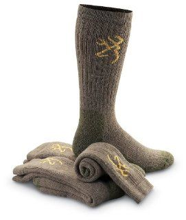 3   Pk. Browning Merino Wool Blend Socks Taupe Sports