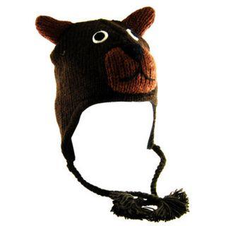 H2W Kids Knit Black Bear Wool Hat
