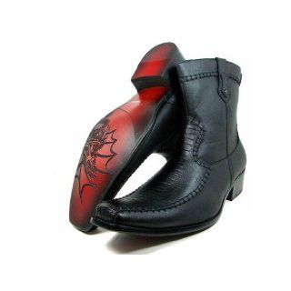 Ferro Aldo Mens Black Calf High Dress Casual Boots Gator Texture Upper