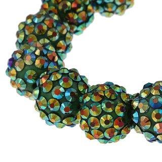 Green Crystal Fireball Acrylic Stretch Bracelet