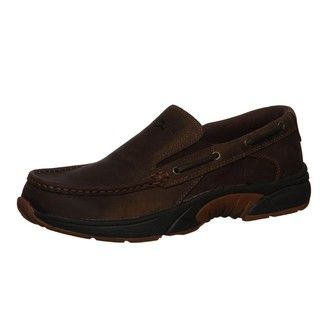 Rugged Shark Mens Jornada Brown Leather Slip on Loafers