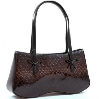 Classic Style 2 Tone   Black / Brown Snake Skin Bags Faux