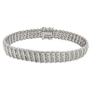 Sterling Silver 2ct TDW Diamond S Link Bracelet (I J, I2 I3