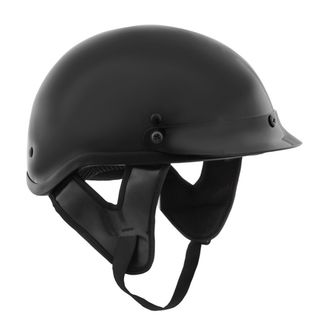 Fuel Helmets Gloss Black DOT approved Half Helmet with Visor