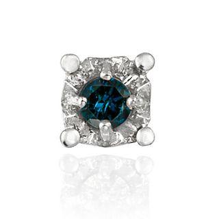 DB Designs Sterling Silver Blue Diamond Single Earrings
