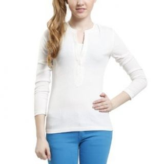 Doublju Womens Henleys long sleeve T shirts Clothing