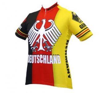 World Jerseys Mens Deutschland Cycling Jersey, Red/Yellow