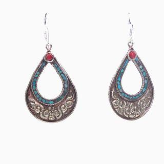 Brass Turquoise Teardrop Earrings (Nepal)