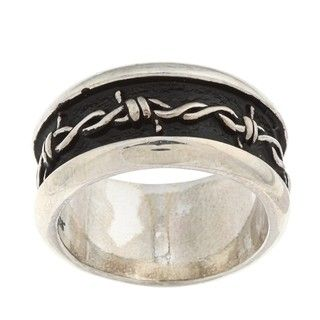 Silvermoon Sterling Silver Barbed Wire Design Band