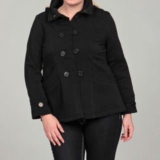 Dollhouse Womens Plus Size Black Faux Fur Jacket