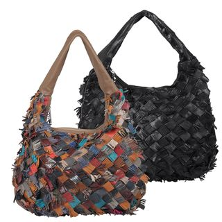 Journee Collection Womens Fringed Basketweave Leather Hobo Bag