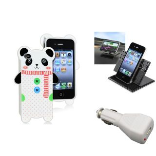 Panda TPU Case/ Swivel Holder/ Car Charger for Apple iPhone 4/ 4S