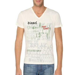 DIESEL T Shirt Mole Homme Ecru   Achat / Vente T SHIRT DIESEL T Shirt