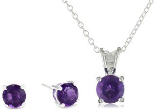 Sterling Silver 6mm Round Amethyst Stud Earring and