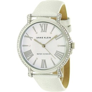 Anne Klein Womens Crystal accented Leather Strap Watch