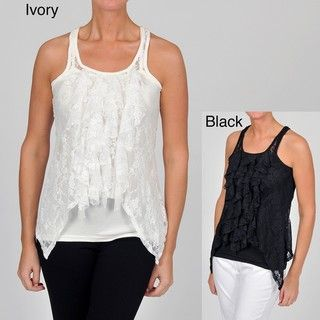Simply Irresistible Womens Sleeveless Lace Twofer Top