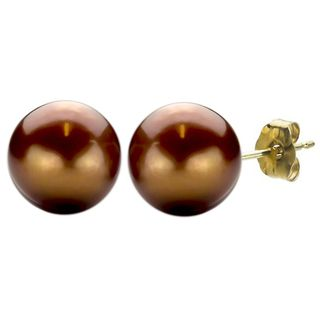 DaVonna 14k Gold Brown Freshwater Pearl Stud Earrings (10 11 mm