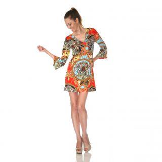 White Mark Womens Florence Yellow/ Turquoise Mix Print Dress
