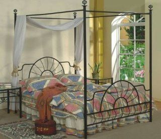 Queen Size Black Finish Canopy Metal Bed Headboard and