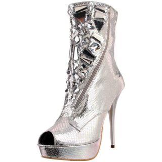 Celeste Womens Succi 02 Silver Rhinestone Boots