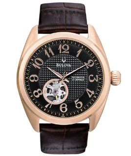 Bulova 97A104 Mens Dress Rose Gold Tone Black Dial Watch Watches