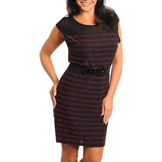 Stanzino Womens Plus Size Black and Red Striped Belted Dress