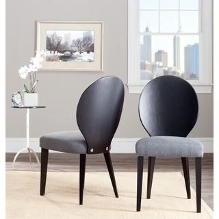Chic Oval Grey/ Black Side Chair (Set of 2)