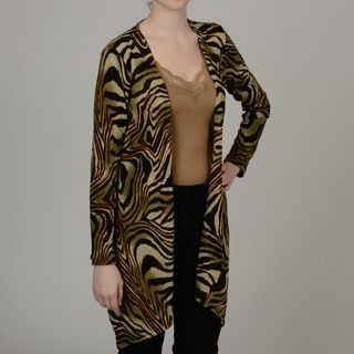Simply Irresistible Womens Animal print Open front Cardigan