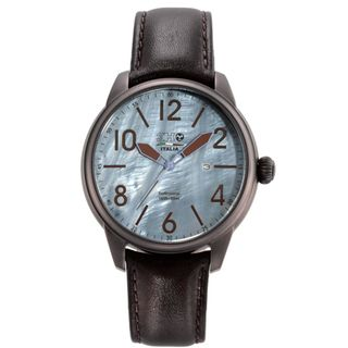 3H Mens Stainless Steel Black Leather Strap Watch