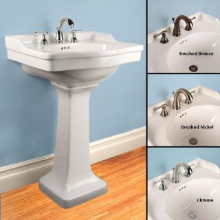 Fontaine White Porcelain Square Pedestal Sink with Monte Carlo Faucet