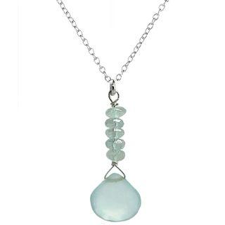Ashanti Sterling Silver Aquamarine and Chalcedony Necklace (Sri Lanka