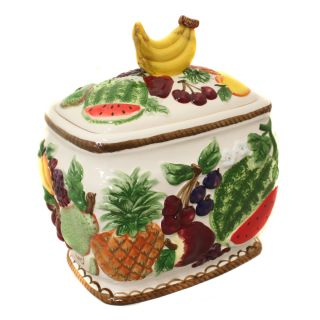 Tropical Fruit Collection Hand painted Cookie Jar