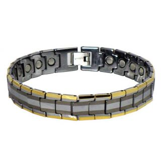 Mens Tungsten Gold Plated Link Bracelet (11.8 mm)