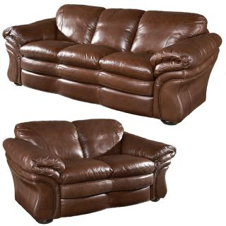 Jensen Leather Sofa and Loveseat