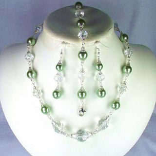 Angelic Clear Crystal and Sage Green Glass Pearl Wedding Jewelry Set