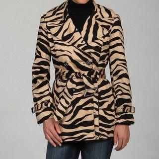 Katherine New York Womens Black/ Tan Zebra Coat