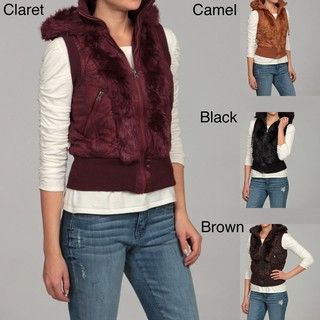 Last Kiss Womens Faux Fur Drawstring Hooded Vest FINAL SALE